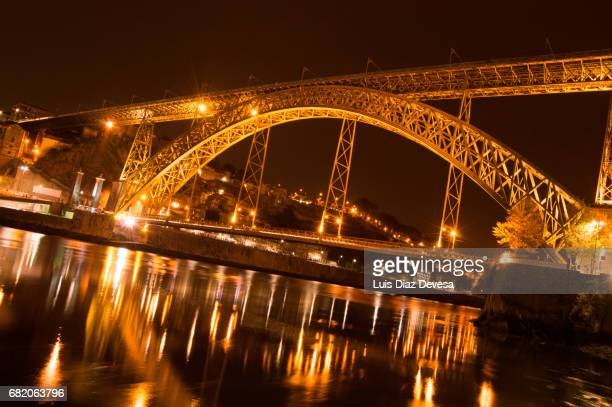 Don Luis The First bridge In Oporto City at night