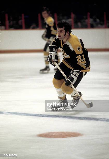 Don Marcotte of the Boston Bruins skates on the ice during an NHL game against the Philadelphia Flyers circa 1972 at the Spectrum in Philadelphia...