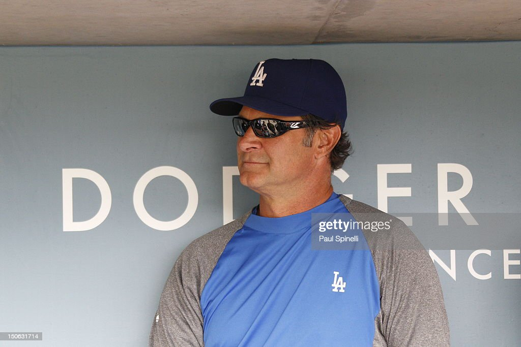 <a gi-track='captionPersonalityLinkClicked' href=/galleries/search?phrase=Don+Mattingly&family=editorial&specificpeople=204707 ng-click='$event.stopPropagation()'>Don Mattingly</a> #8 manager of the Los Angeles Dodgers talks to the media before the game against the Philadelphia Phillies on Wednesday, July 18, 2012 at Dodger Stadium in Los Angeles, California. The Dodgers won the game 5-3.