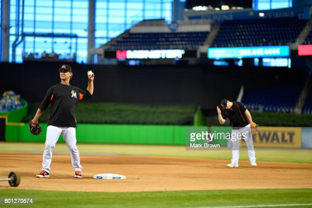 Don Mattingly of the Miami Marlins before the Miami Marlins top three draft picks Trevor Rogers Brian Miller and Joe Dunand visit Marlins Park for a...