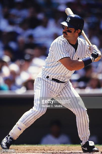 Don Mattingly of the New York Yankees batting against the Kansas City Royals during a MLB game at Yankee Stadium on August 22 1993 in the Bronx New...
