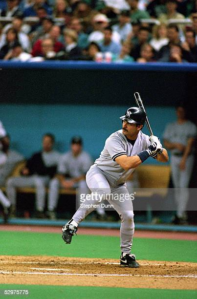 Don Mattingly of the New York Yankees waits for the pitch during Game four of the 1995 American League Divisional Series against the Seattle Mariners...