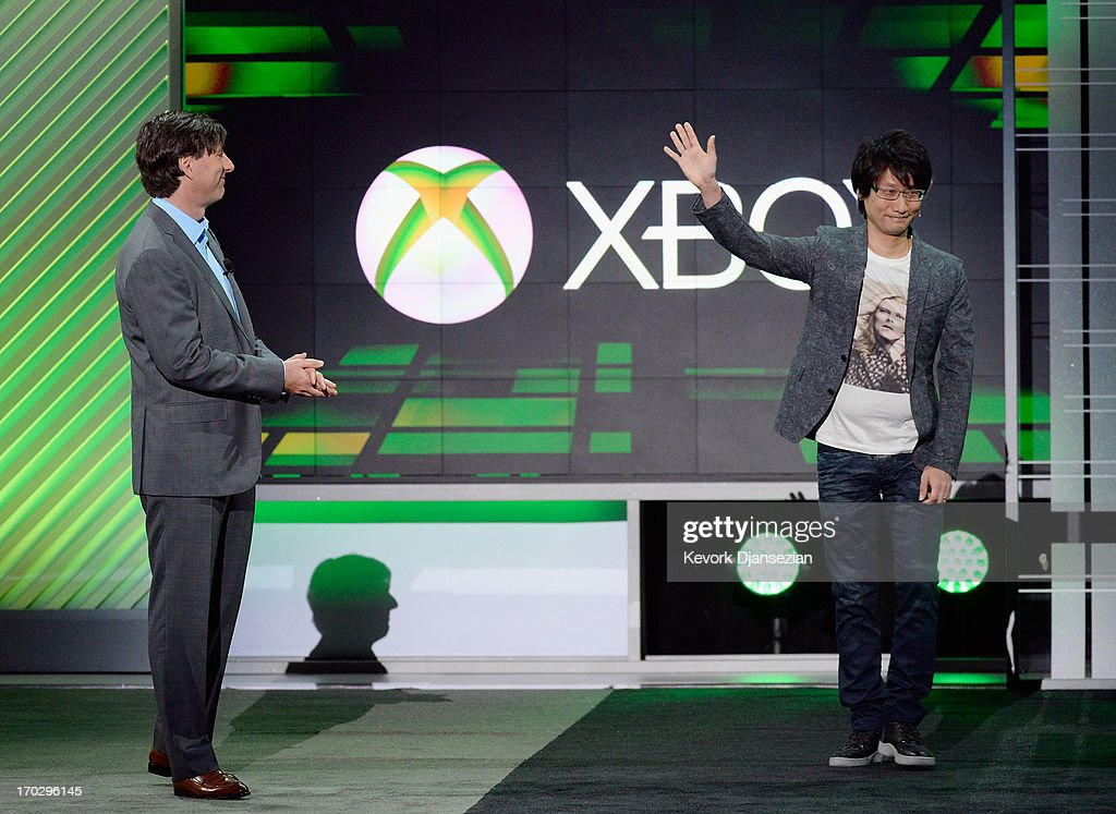 Don Mattrick, (L) president of the Interactive Entertainment Business at Microsoft, introduces Japanese game director Hideo Kojima, head of Kojima Productions during the Microsoft Xbox news conference at the Electronic Entertainment Expo at the Galen Center on June 10, 2013 in Los Angeles, California. Thousands are expected to attend the annual three-day convention to see the latest games and announcements from the gaming industry.