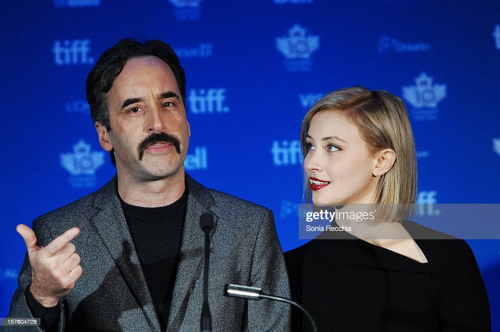 <a gi-track='captionPersonalityLinkClicked' href=/galleries/search?phrase=Don+McKellar&family=editorial&specificpeople=220250 ng-click='$event.stopPropagation()'>Don McKellar</a> and <a gi-track='captionPersonalityLinkClicked' href=/galleries/search?phrase=Sarah+Gadon&family=editorial&specificpeople=6606524 ng-click='$event.stopPropagation()'>Sarah Gadon</a> host Canada's Top Ten Announcement/Press Conference at TIFF Bell Lightbox on December 4, 2012 in Toronto, Canada.