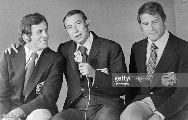 Don Meredith Howard Cosell and Frank Gifford are shown in this photo together They are sportscasters for the ABC Broadcasting NFL Monday Night...