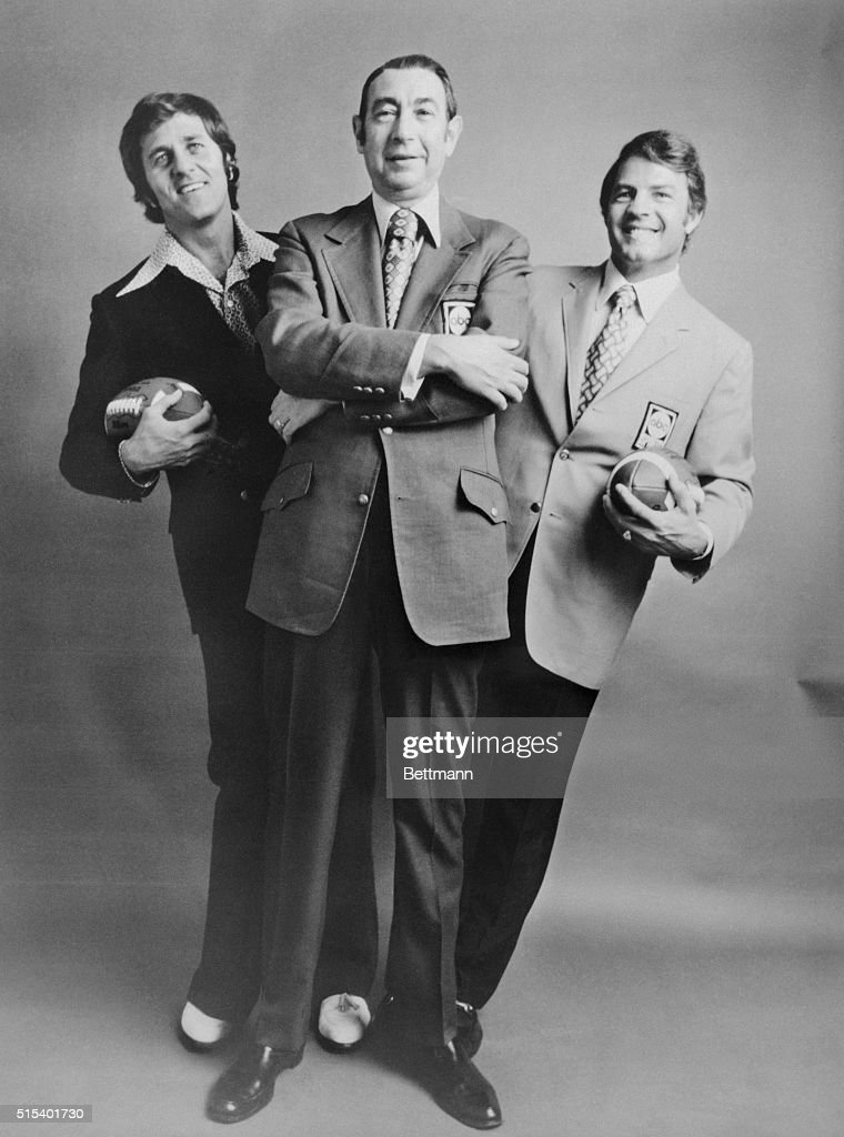 Don Meredith, Howard Cosell and Frank Gifford are shown in this photo together. They are sportscasters for the ABC Broadcasting NFL Monday Night Football series.