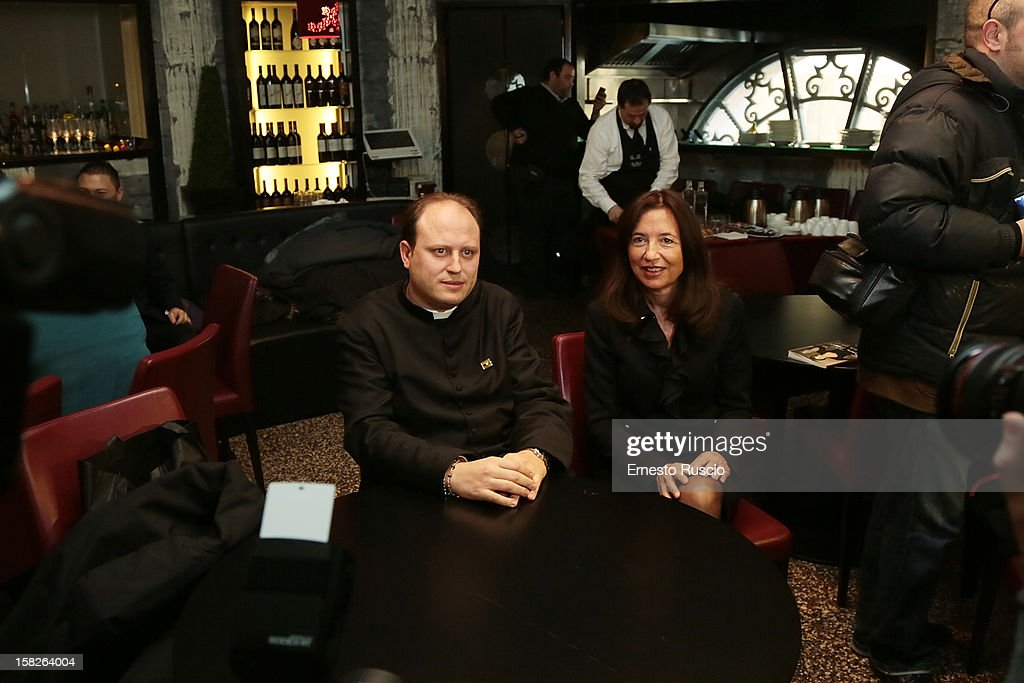 Don Michele Barone, Cinzia Casciarelli attend the Book Launch 'Ora Basta Parlo Io' at Elle Restaurant on December 12, 2012 in Rome, Italy.