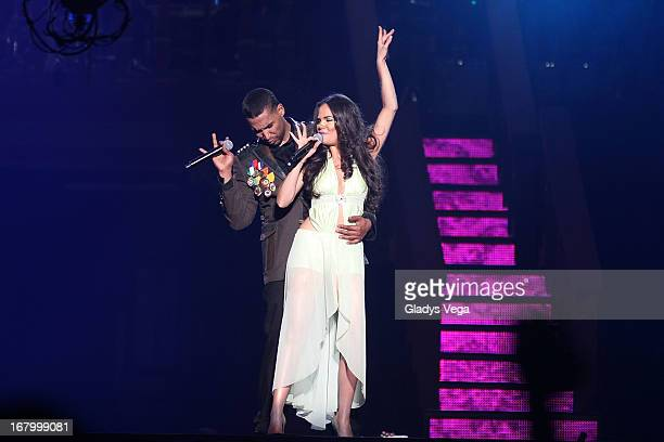 Don Omar performs a duet with Natty Natasha in his concert 'Hecho en Puerto Rico' at Coliseo Jose M Agrelot on May 3 2013 in San Juan Puerto Rico