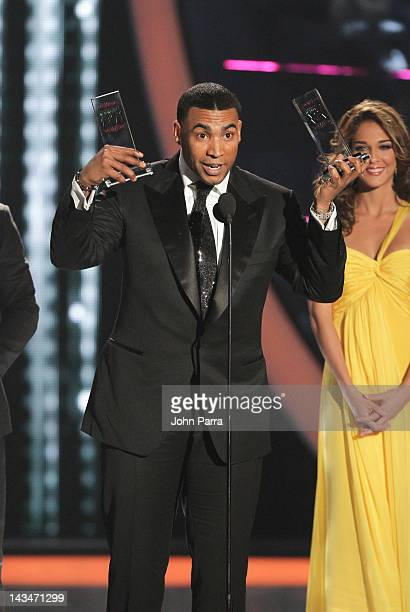 Don Omar receives an award during Billboard Latin Music Awards 2012 at Bank United Center on April 26 2012 in Miami Florida