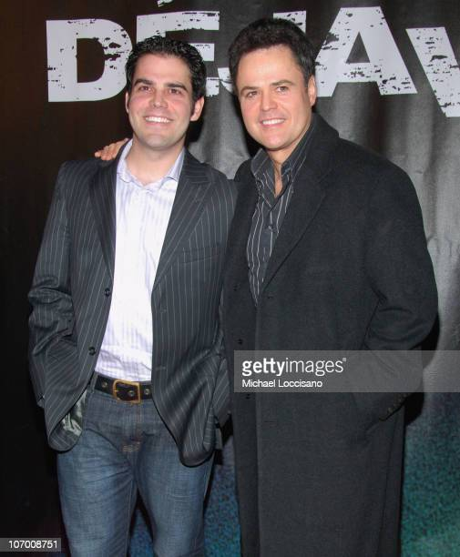 Don Osmond Jr and Donny Osmond during 'Deja Vu' New York Premiere Arrivals at Ziegfeld Theatre in New York City New York United States