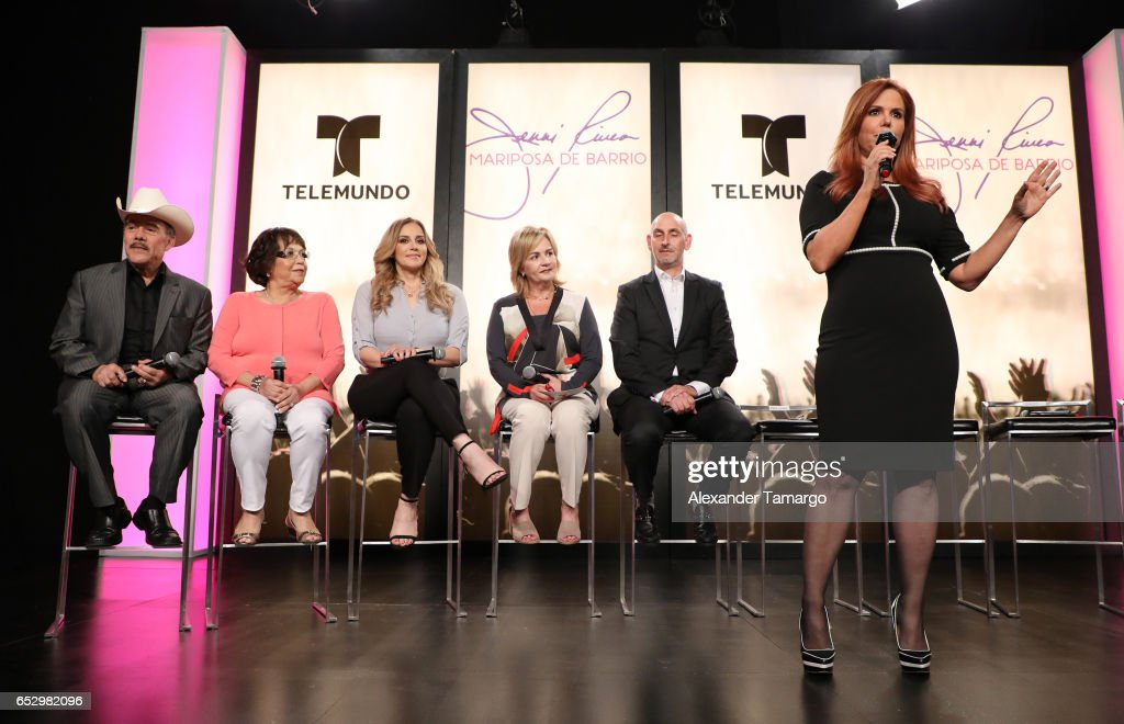 Don Pedro Rivera, Dona Rosa Rivera, Rosie Rivera and Maria Celeste Arraras are seen at the introduction of the cast of 'Jenni Rivera: Mariposa de Barrio' at Telemundo Studios on March 13, 2017 in Miami, Florida.