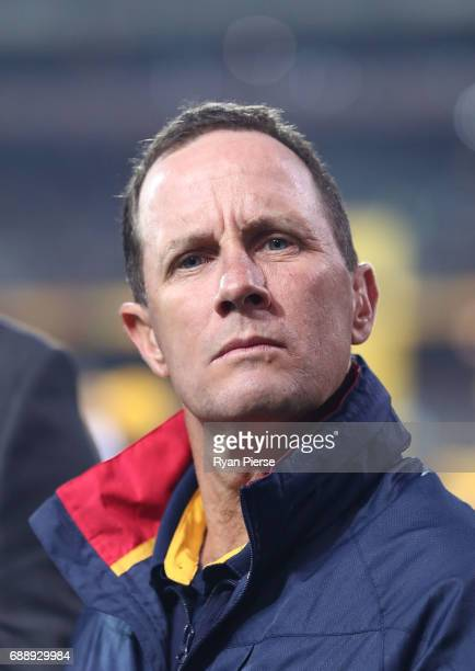 Don Pyke coach of the Crows looks on during the round 10 AFL match between the Adelaide Crows and the Fremantle Dockers at Adelaide Oval on May 27...