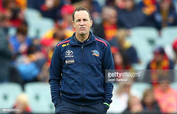 Don Pyke coach of the Crows looks on during the round 19 AFL match between the Adelaide Crows and the Essendon Bombers at Adelaide Oval on July 31...