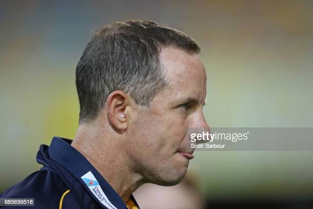 Don Pyke coach of the Crows looks on during the round nine AFL match between the Brisbane Lions and the Adelaide Crows at The Gabba on May 20 2017 in...