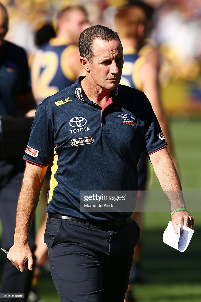 Don Pyke of the Crows looks on during the round six AFL match between the Adelaide Crows and the Fremantle Dockers at Adelaide Oval on April 30, 2016 in Adelaide, Australia.