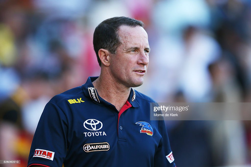 <a gi-track='captionPersonalityLinkClicked' href=/galleries/search?phrase=Don+Pyke&family=editorial&specificpeople=15103898 ng-click='$event.stopPropagation()'>Don Pyke</a> of the Crows looks on during the round six AFL match between the Adelaide Crows and the Fremantle Dockers at Adelaide Oval on April 30, 2016 in Adelaide, Australia.