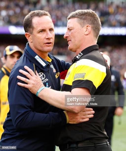 Don Pyke Senior Coach of the Crows congratulates Damien Hardwick Senior Coach of the Tigers during the 2017 Toyota AFL Grand Final match between the...