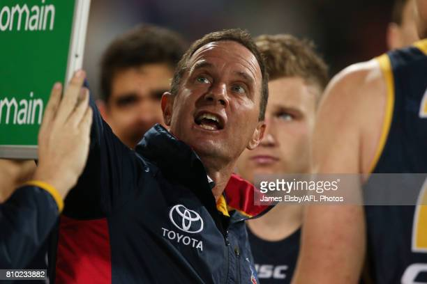 Don Pyke Senior Coach of the Crows during the 2017 AFL round 16 match between the Adelaide Crows and the Western Bulldogs at the Adelaide Oval on...