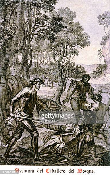 Don Quixote by Miguel de Cervantes Caption reads 'Aventura del Caballero del Bosque' Shows two knights in armour and two other men with horses in a...
