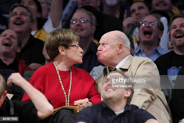 Don Rickles and Barbara Sklar kiss at the Los Angeles Lakers vs Cleveland Cavaliers game at the Staples Center on January 19 2009 in Los Angeles...