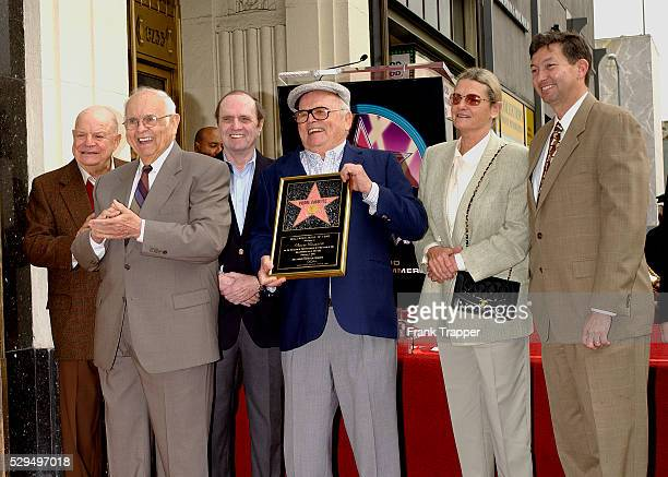 Don Rickles Johnny Grant Bob Newhart and LeRon Grubler with Pierre Cossette and his wife attend the Star ceremony honoring him on the Hollywood Walk...