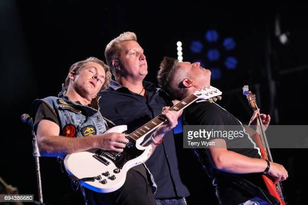 Don Rooney Gary LeVox and Jay DeMarcus of Rascal Flatts perform during day 2 of the 2017 CMA Music Festival on June 9 2017 in Nashville Tennessee