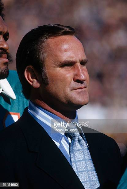 Don Shula manager of the Miami Dolphins watches the game unfold during Super Bowl VI against the Dallas Cowboys at Tulane Stadium in New Orleans...
