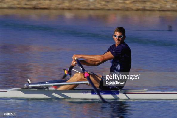 Don Smith of the USA qualified in the third heat with a time of 71183 in the Men's Single Sculls Repechage during the 2000 Sydney Olympics at the...