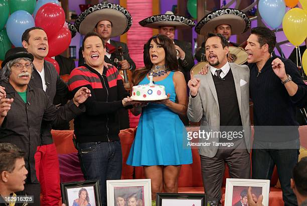 Don Sordomudo Alan Tacher Raul Gonzalez Lorena Rojas Rodrigo Vidal and Johnny Lozada celebrate Univision's Tlnovelas cable network first anniversary...