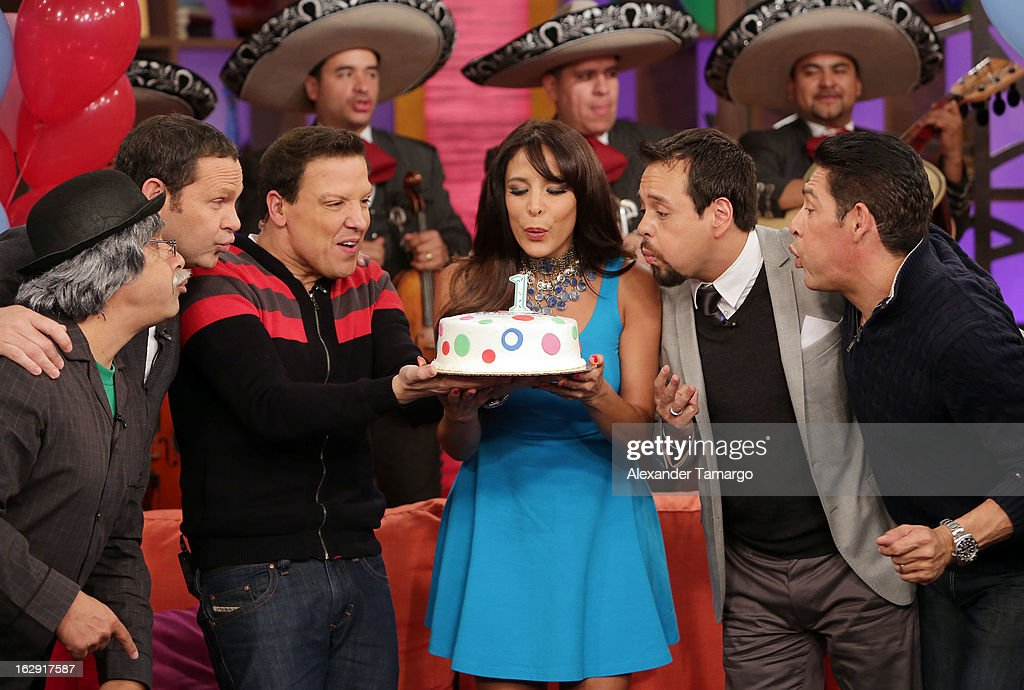 Don Sordomudo, Alan Tacher, Raul Gonzalez, Lorena Rojas, Rodrigo Vidal and Johnny Lozada celebrate Univision's Tlnovelas cable network first anniversary on Despierta America at Univision Headquarters on March 1, 2013 in Miami, Florida.