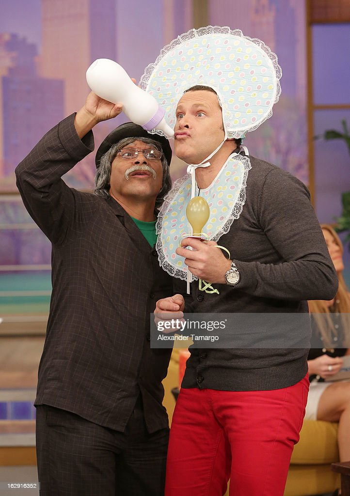 Don Sordomudo and Alan Tacher celebrate Univision's Tlnovelas cable network first anniversary on Despierta America at Univision Headquarters on March 1, 2013 in Miami, Florida.