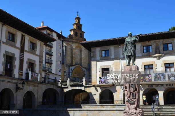 Don Tello statue and culture house in Plaza de los Fueroson 19 June 2017 GernikaLumo Basque Country Spain