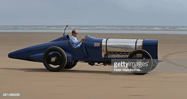 Don Wales drives the original Sunbeam car as he recreates his grandfather's 1925 land speed world record at Pendine Sands on July 21 2015 in...