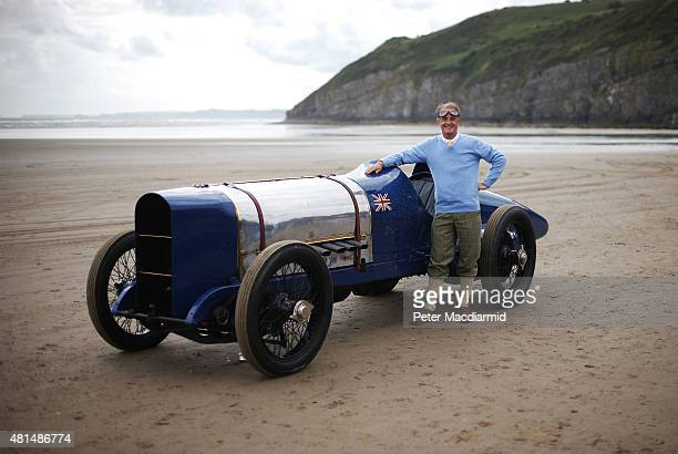 Don Wales stands with the original Sunbeam car after he recreated his grandfather's 1925 land speed world record at Pendine Sands on July 21 2015 in...
