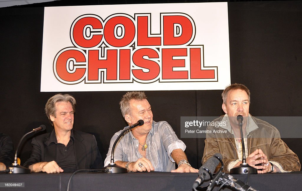 Don Walker Jimmy Barnes and Steve Prestwich of the band 'Cold Chisel' attend a press conference at Clovelly Bowling Club to announce they will...