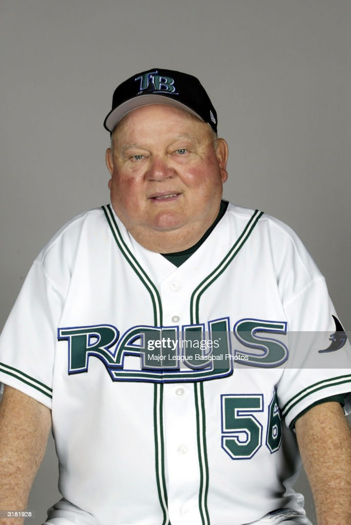 <a gi-track='captionPersonalityLinkClicked' href=/galleries/search?phrase=Don+Zimmer&family=editorial&specificpeople=215376 ng-click='$event.stopPropagation()'>Don Zimmer</a>, Coach of the Tampa Bay Devil Rays poses for a portrait on February 23, 2004 in St. Petersburg, Florida.