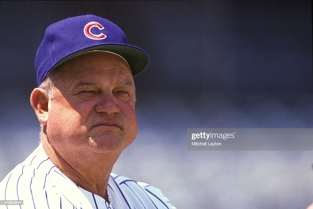<a gi-track='captionPersonalityLinkClicked' href=/galleries/search?phrase=Don+Zimmer&family=editorial&specificpeople=215376 ng-click='$event.stopPropagation()'>Don Zimmer</a> #4, manager of the Chicago Cubs, before a baseball game on May 15, 1991 at Wrigley Field in Chicago, Illinois.