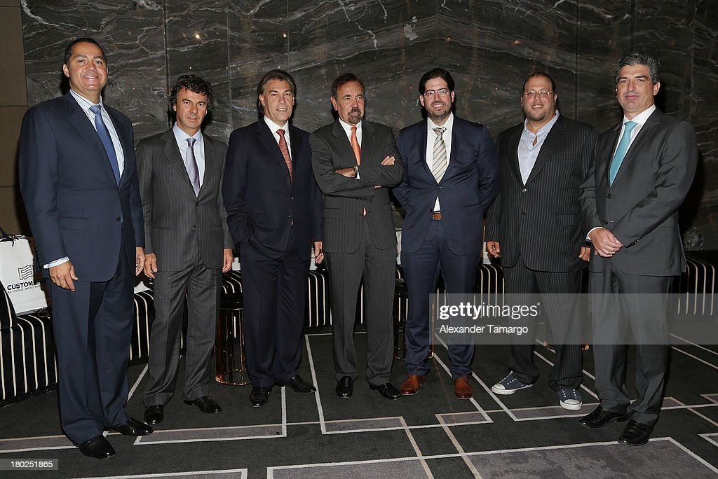 R. Donahue Peebles, Ugo Colombo, Edgardo Defortuna, Jorge Perez, David Martin, Gil Dezer and Carlos Rosso attend the Haute Magazine Real Estate Summit at the W Hotel South Beach on September 10, 2013 in Miami, Florida.
