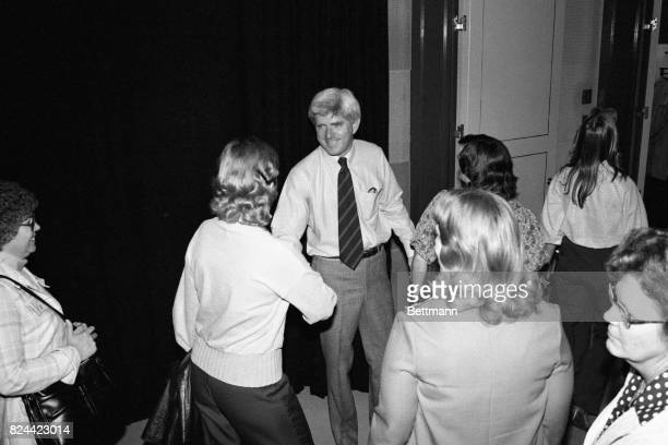 Donahue stands by the door at the end of each of his programs in shirtsleeves He tries to shake hands with each of the departing members of the...