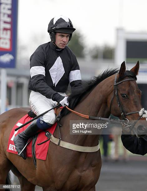 Donal Devereux during the Betfred 'Treble Odds on Lucky 15's' Novices' Handicap Hurdle Race at Uttoxeter Racecourse on March 14 2015 in Uttoxeter...