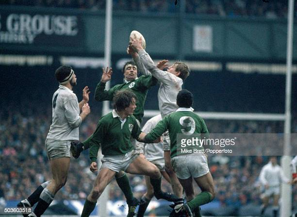 Donal Lenihan of Ireland and Dean Richards of England in lineout action during their Five Nations International rugby union match at Twickenham in...