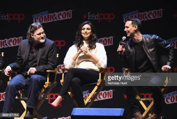 Donal Logue Morena Baccarin and Cory Michael Smith speak onstage at the Gotham Panel during the 2017 New York Comic Con on October 8 2017 in New York...