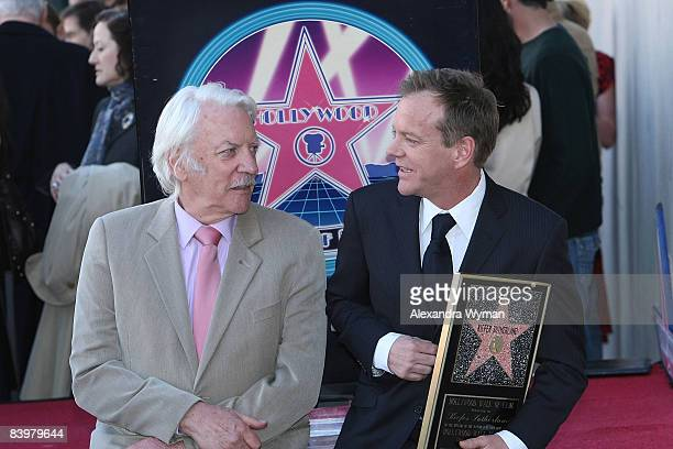 Donald and Kiefer Sutherland at Kiefer Sutherland's star ceremony on The Hollywood Walk Of Fame on December 9 2008 in Hollywood California