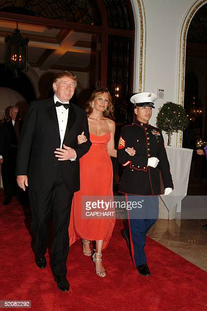 Donald and Melania Trump attend the International Red Cross Ball at MarALago January 29 2005 in Palm Beach Florida