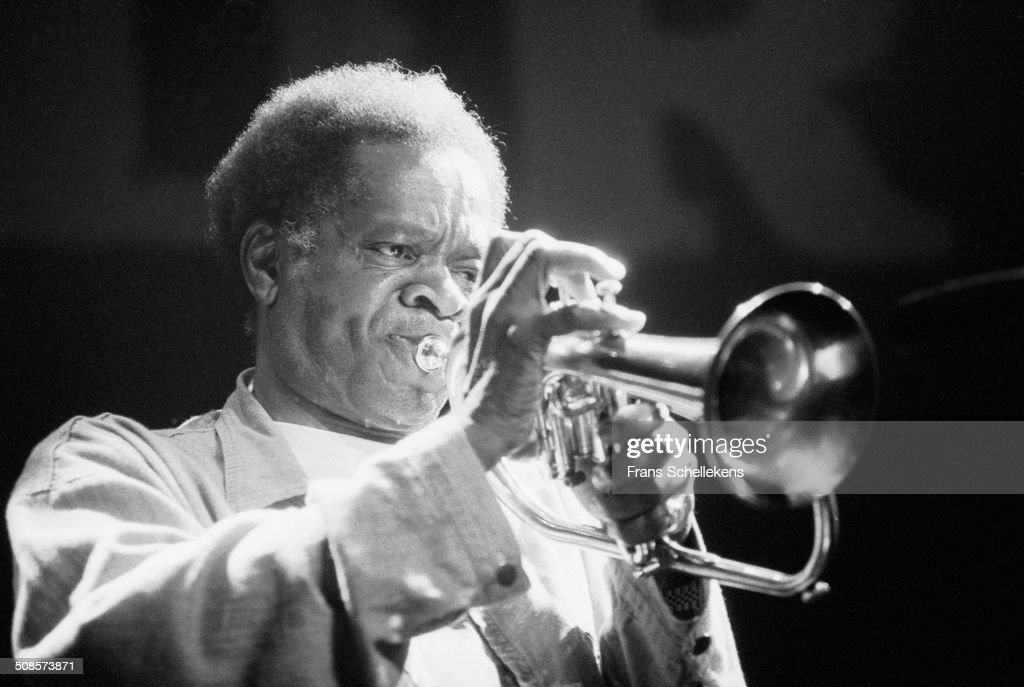 <a gi-track='captionPersonalityLinkClicked' href=/galleries/search?phrase=Donald+Byrd&family=editorial&specificpeople=1551105 ng-click='$event.stopPropagation()'>Donald Byrd</a>, trumpet, performs at Berlage Beurs with rapper Guru during Drum festival on 1st July 19923 in Amsterdam, Netherlands.