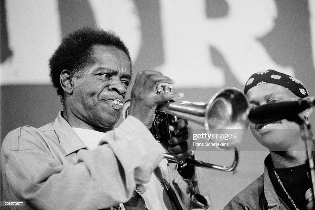 <a gi-track='captionPersonalityLinkClicked' href=/galleries/search?phrase=Donald+Byrd&family=editorial&specificpeople=1551105 ng-click='$event.stopPropagation()'>Donald Byrd</a>, trumpet, performs at Berlage Beurs with rapper Guru during Drum festival on 1st July 1993 in Amsterdam, Netherlands.