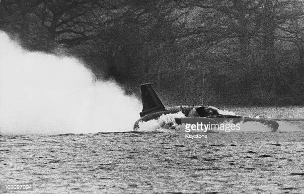 Donald Campbell in his 'Bluebird' at Coniston Water in Lancashire 24th November 1966 He is preparing for his attempt to raise the water speed record...