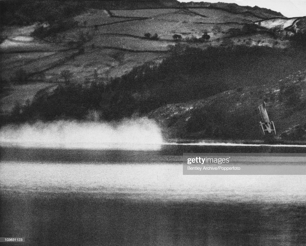 Donald Campbell (1921 - 1967) makes an attempt at the world water speed record on Coniston Water, Lancashire, in his 'Bluebird K7', but the vehicle somersaults over and crashes into the water, killing him, 4th January 1967.