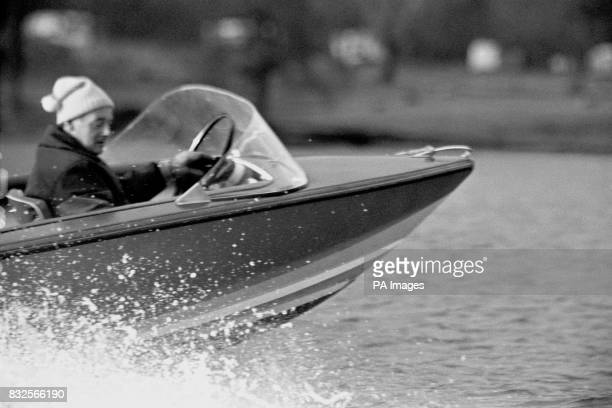 Donald Campbell surveys Coniston Water from his run about Jetstar in preparation for his attempt on his own World Water Speed Record