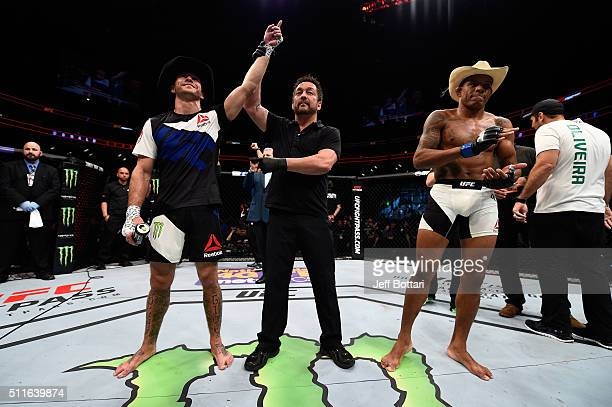 Donald Cerrone celebrates his submission victory over Alex Oliveira in their welterweight bout during the UFC Fight Night event at Consol Energy...